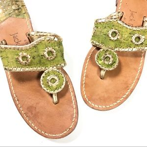 Jack Rogers Green Cork with Gold Trim Sandals